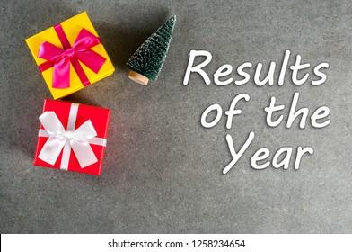 Results of the year. Year review concept with christmas gifts. Time to summarize and plan goals for the next year