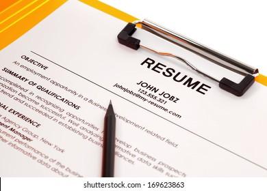 Resume in folder isolated on white background