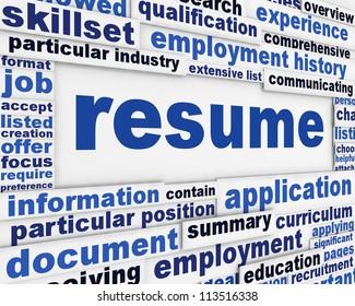 Resume message design. Recruitment poster conceptual design