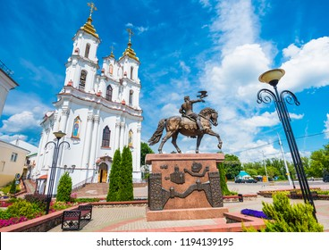 Resurrection Church and beautiful equestrian statue in Vitebsk, Belarus with dramatic sky