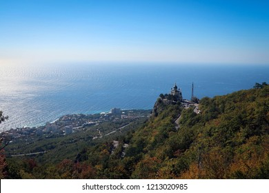 Resurrection Church in Foros and Black Sea panoramic view, Crimea, Russia