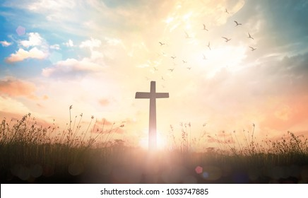 Resurrection of Jesus Christ concept: Silhouette cross on meadow autumn sunrise background