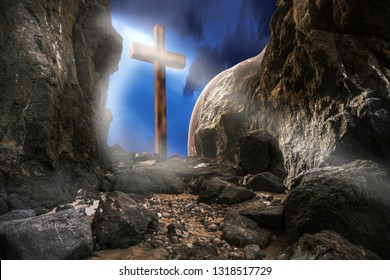 Resurrection of Jesus Christ. Empty tomb with cross against the sky. Christian religion.