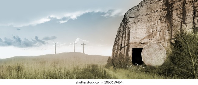 Resurrection Panorama - Empty Tomb and Three Crosses