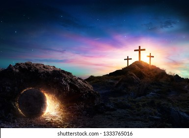 Resurrection - Tomb Empty With Crucifixion At Sunrise