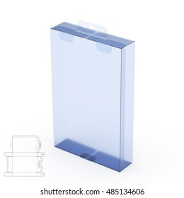Retail Box with Hanging Tab and Blueprint 3D Rendering Illustration