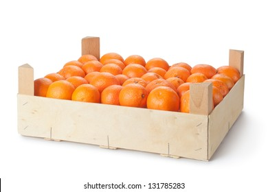 Retail crate of ripe tangerines. Isolated on a white.