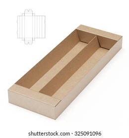 Retail Divided Tray Box with Die Line Template