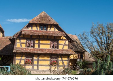 retail of historical house  in alsatian village on blue sky background