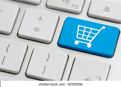 retail or shopping cart icon on keyboard button
