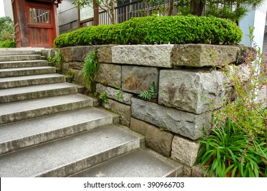 Retain wall and the stairs of stone