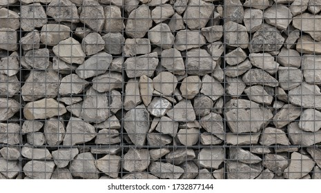 Retaining wall gabion baskets, Gabion wall caged stones textured background, caged riprap