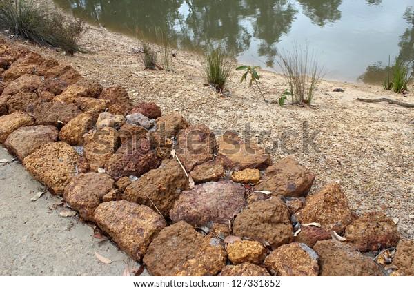 Retaining Wall Large Gravel Stones Crooked Stock Photo (Edit