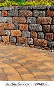 Retaining wall and patio, copy sapce, vertical