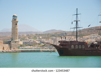 Rethymno city at Crete island in Greece. The old venetian harbor