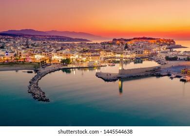 Rethymno city at Crete island in Greece. The old venetian harbor.