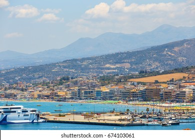 Rethymno, Crete - 27 May, 2016 : Cityscape of the old venetian harbor in Rethymno, Greece