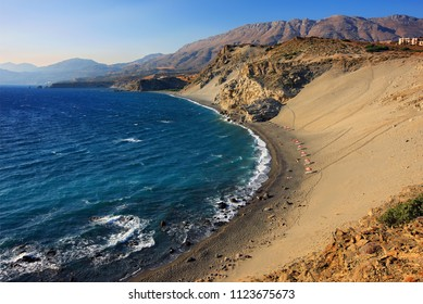 RETHYMNO, CRETE, GREECE. Panoramic view of Agios Pavlos beach at the south coast of the island.