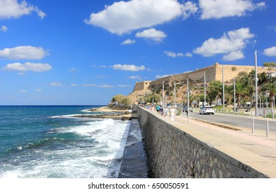 Rethymno, Crete, Greece - September 24, 2016: Tourists visit the Fortezza of Rethymno on a sunny day.
