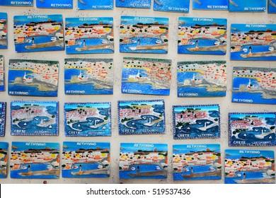 RETHYMNO, CRETE - SEPTEMBER 15, 2016 - Fridge magnets for sale in the old town, Rethymno, Crete, Greece, Europe, September 15, 2016.