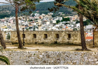 Rethymno. Crete.29 may 2019. the wall of the Venetian fortress and the houses of the city of Rethymno in Greece.