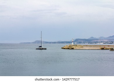 Rethymno. Crete.29 may 2019.The yacht enters the Harbor of Rethymno in Greece.