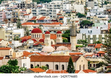 Rethymno. Crete.29 may 2019.View from the height of the Roofs of houses in the old town of Rethymno in Greece.