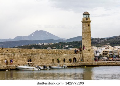 Rethymno. Crete.29 may 2019.View of the lighthouse and the promenade of Rethymno in Greece.