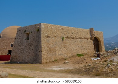 Rethymno, Greece - July  30, 2016: The Residence of the Rector in Fortezza of Rethymno. The Fortezza is the citadel of the city of Rethymno in Crete. It was built by the Venetians in the 16th century.