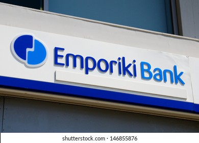 RETHYMNO, GREECE - JULY 8: A branch of Emporiki Bank on July 8, 2013 in Rethymno, Greece. Emporiki Bank is a member of the Alpha Bank Group, bank has more than 300 branches in Greece and Cyprus.