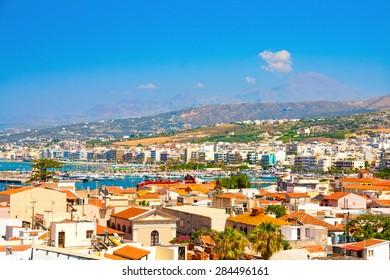 Retimnon. View from the castle hill. Crete, Greece.