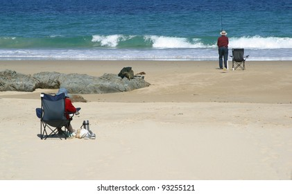 Retired couple at beach