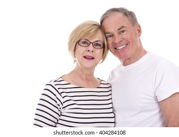 retired couple wearing summer outfits on white isolated background