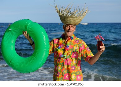 Retired man is having a happy vacation