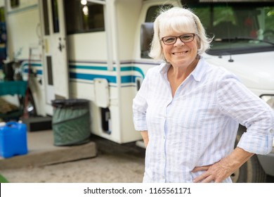 Retired mature woman traveling in RV