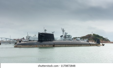Retired nuclear submarine and warship of China Navy in Qingao, Shandong province of China.