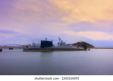 Retired nuclear submarine and warship of China Navy in Qingao.