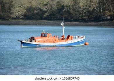 "The retired Watson class lifeboat ""Southport Lady"" originally from the Isle of Man, moored on the Menai Strait off the shores of Anglesey in North Wales. Taken 18 April 2018"