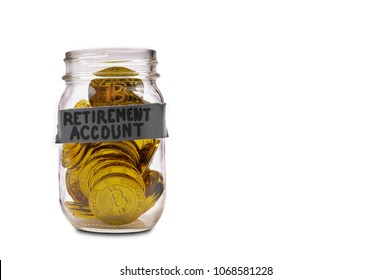 Retirement Account Mason Jar Full of the Electonic Currency Bitcoin