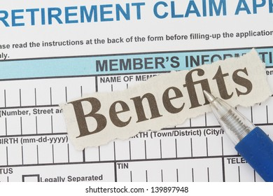 Retirement application form with benefits newspaper cutout.
