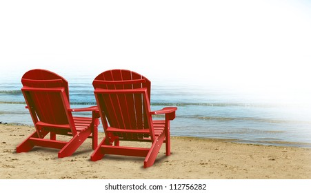 Retirement Aspirations and financial planning symbol with two empty blue adirondack chairs on a tropical sandy beach with ocean view as a business concept of future successful investment strategy.