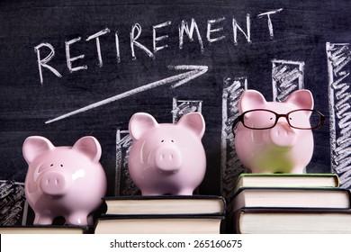 Retirement plan, piggy bank
