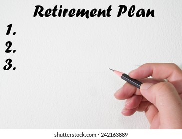 Retirement plan text write on wall