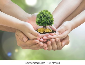 Retirement planning and family investment concept with wealthy tree growing on parent - children's hands