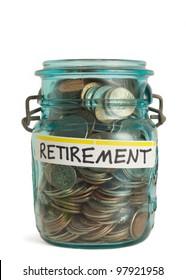 Retirement savings money in jar