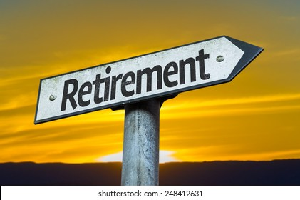 Retirement sign with a sunset background