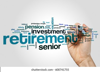 Retirement word cloud concept on grey background