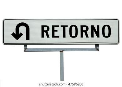 Retorno Spanish U-turn sign