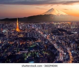 Retouch photo of Tokyo city at twilight with Mt Fuji on the background