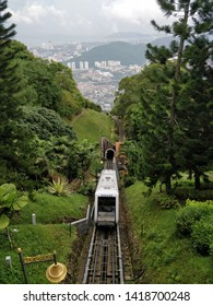 Retreat from city to nature hill with train